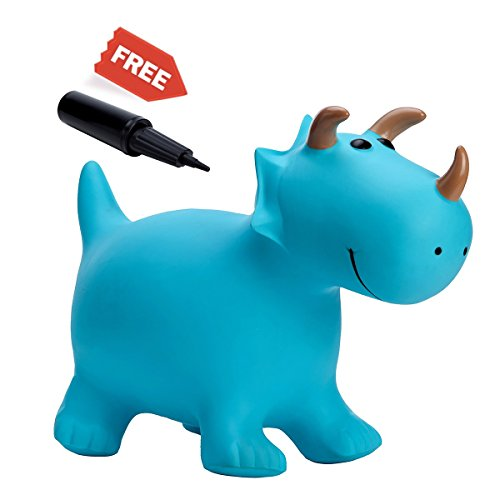 Babe Fairy Horse Hopper Ride-on Toddlers Toys for Children,Jumping Horse,Inflatable Bouncer Seat Birthday Gift for Kids(Blue Triceratops)