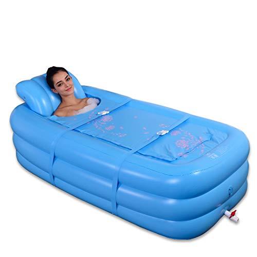 Bañera Inflable Adulta del hogar Azul, baño, bañera Plegable Transparente de plástico Transparente portátil de remojo...