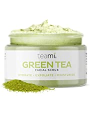 Teami Matcha Green Tea Face Scrub - Natural Face Exfoliator for All Skin Types - Organic Exfoliating Face Wash with Lemongrass - USA Made Facial Scrub for Women & Men - Non-Greasy Daily Face Exfoliant