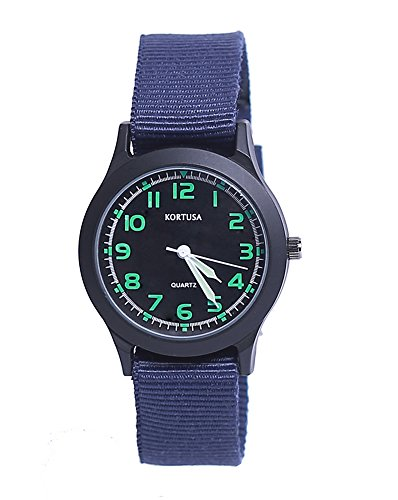Analog Military - School Kids Army Military Wrist Watch Time Teacher Luminous Watch with Nylon Strap Blue
