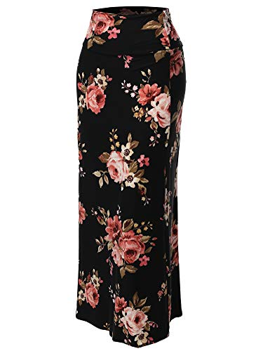Stylish Fold Over Flare Long Maxi Skirt - Made in USA Black Pink Floral (Floral Lightweight Skirt)