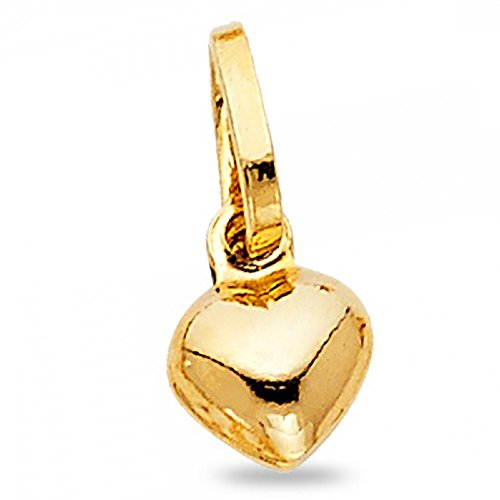 Small Heart Puffed Pendant Solid 14k Yellow Gold Love Charm Polished Genuine Tiny 8 x 8 mm