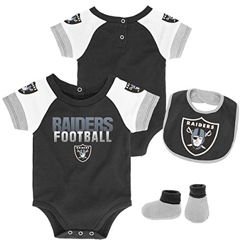 (Outerstuff NFL NFL Oakland Raiders Newborn & Infant 50 Yard Dash Bodysuit, Bib & Bootie Set Black, 6-9 Months)