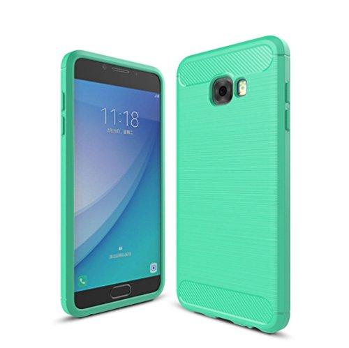Funda Samsung Galaxy C7 Pro,Funda Fibra de carbono Alta Calidad Anti-Rasguño y Resistente Huellas Dactilares Totalmente Protectora Caso de Cuero Cover Case Adecuado para el Samsung Galaxy C7 Pro E