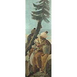 'Giovanni Battista Tiepolo Two Orientals Seated Under A Tree ' Oil Painting, 16 X 47 Inch / 41 X 121 Cm ,printed On Perfect Effect Canvas ,this High Resolution Art Decorative Prints On Canvas Is Perfectly Suitalbe For Hallway Gallery Art And Home Artwork