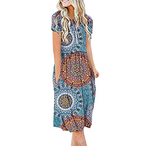 Brooks Womens Switch - Women's Bohe Print Empire Waist Short Sleeve Round Neck Pockets Pleated Loose Swing Flare Midi Dress (XXL, Sky Blue)
