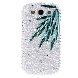 Pearl Bamboo Leaves Pattern Hard Back Cover Case with Glue for Samsung Galaxy S3 I9300 , Blue