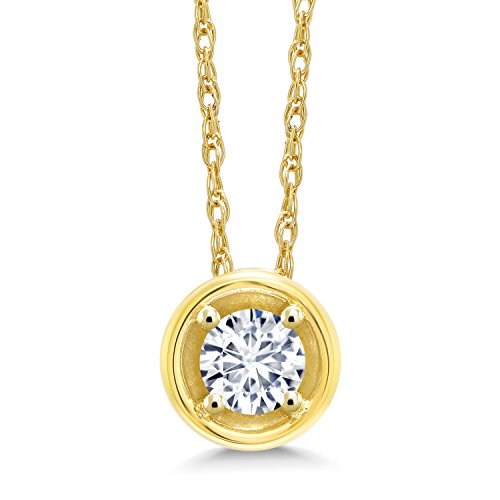 Gem Stone King 14K Yellow Gold Pendant Timeless Brilliant (IJK) Round 0.16ct (DEW) Created Moissanite