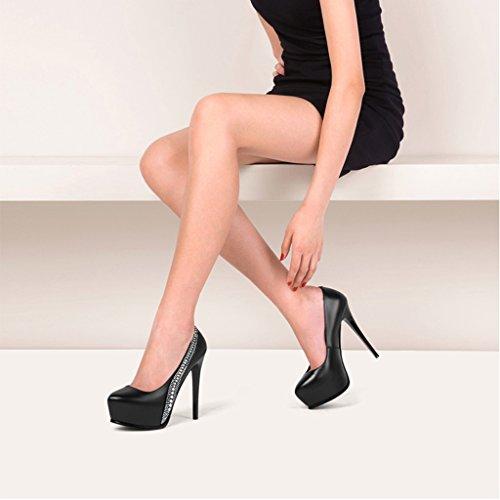 Fine Forme Simples Avec L'Eau Femmes Mode Talons Imperméable Hauts Chaussures Bouche des à times Sexy 13cm de Peu Chaussures Plate Profonde Strass Hyun Femelle Noir à EqaOwHRx