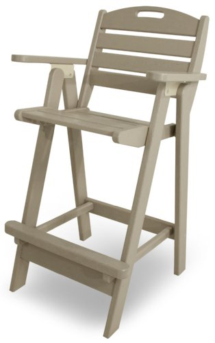 POLYWOOD NCB46SA Nautical Bar Chair, Sand