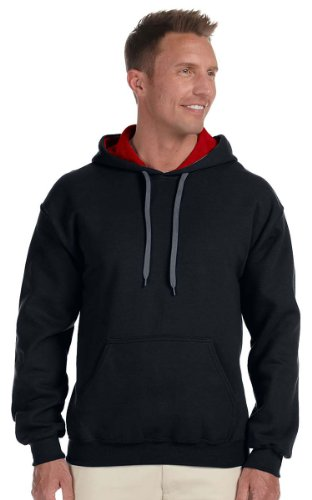Gildan Activewear Heavy Blend Hooded Sweatshirt with Contrast-color Lining, 3XL, Black/ Red