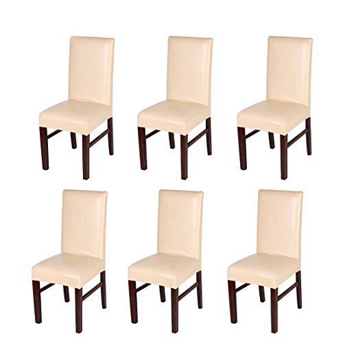 Levoberg 6 Pieces Dining Chair Cover PU Leather Waterproof Oilproof Protective and Stretchable Chair Slipcover Decoration Champagne