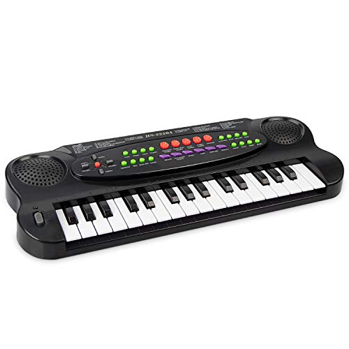 aPerfectLife Kids Keyboard, 32 Keys Multifunction Electronic Kids Piano Keyboard Musial Instrument for Kids with Microphone (Black)