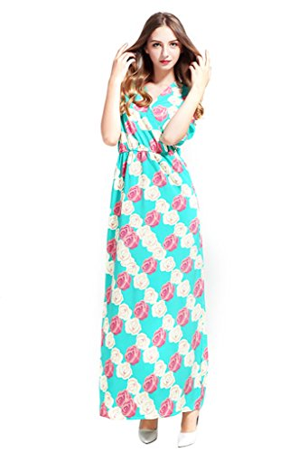 XW COSTUME Femme Robe de Cocktail Manches 3/4 Robe Maxi