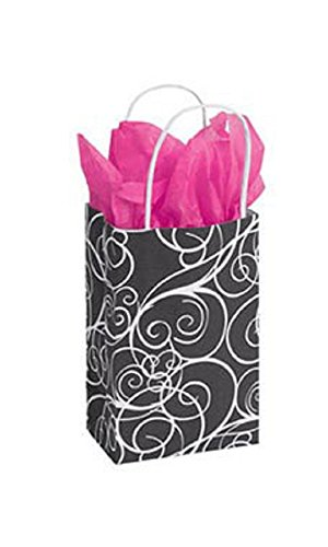 Small Elegant Swirl Paper Shopping Bags - Case of 100. by STORE001