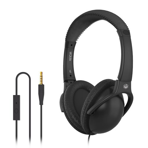 MQbix MQHT560BLK Ear Foam Palette High Performance Headphones with Mic, Onyx Black by MQbix