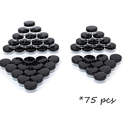 3 Gram Plastic Cosmetic Containers with Lids Black Makeup Sample Jars BPA free 75pcs ()