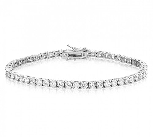 Venetia Top Grade Realistic 8 Carats 3mm Simulated Diamond Tennis Bracelet 925 Silver Platinum Plated Hearts and Arrows Cut cubic zirconia cz (925 Silver High Platinum Bracelet)