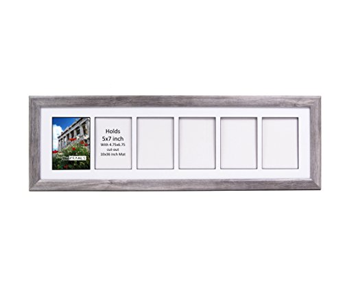 (CreativePF- 6 Opening Glass Face Driftwood Picture Frame to Hold 5 by 7 inch Photographs Including 10x36-inch White Mat Collage)
