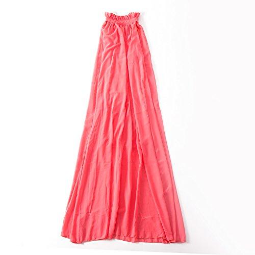 Red Silk Christmas Dress (VIGVOG Women Flowy Maxi Ruffle Neck Sleeveless Gown Long Dress, Red, Small /)