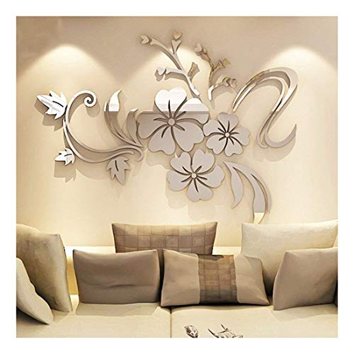 - WEI.DS 1Set Acrylic Art 3D Mirror Flower Wall Stickers DIY Home Wall Room Decals Decor Sofa TV Setting Wall Removable Wall Stickers 120CMX90CM (Silver)