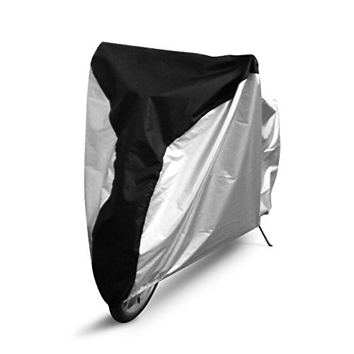 Universal Outdoor Waterproof Bicycle Cover Storage - Extra Large Heavy Duty PU Bike Cover for Mountain Bike, Road Bike, Electronic Bike, Cruiser Bike and Multiple Kids' Bike. (Silver/Black, L) - Bicycle Snow Chains