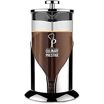 Gorgeous [8 Cup] French Press Coffee Maker & Tea Maker (34 Oz) – Best Café Press Pot with 18/8 Grade Stainless Steel & No-Shatter Borosilicate Glass – Drink the Perfect Cafetiere Cuppa Every Time!