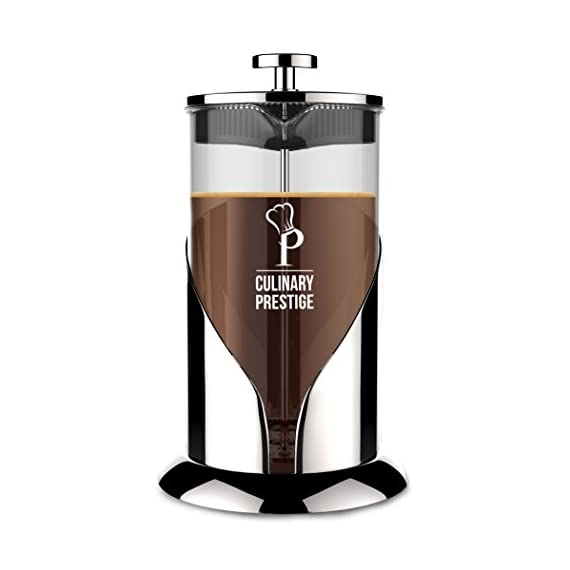 "Gorgeous [8 Cup] French Press Coffee Maker & Tea Maker (34 Oz) - Best Café Press Pot with 18/8 Grade Stainless Steel & No-Shatter Borosilicate Glass - Drink the Perfect Cafetiere Cuppa Every Time! 1 BLACK FRIDAY SUPER SALE COUPON - Want to save an EXTRA 10% TODAY Only? Use Coupon at checkout: LLPRIME1. Limited Stock! Expires Today! SKIP THE CAFÉ - OUR PATENTED SYSTEM IS 100 TIMES BETTER: Did you know that the IDEAL French press with the PERFECTLY SIZED micro filter actually UNLOCKS FLAVORS you've never tasted before? AROMAS you'll only find in a European Café? And the happiness only the perfect cuppa brings? Yeah, it's like that... 4 MINUTES - IMAGINE IF YOU COULD GET THE PERFECT CUPPA FASTER than your Barista could make it! If you're looking for a barista quality French press coffee maker that's actually FASTER than standing in line at you know where, then you'll love how our RAPID RELEASE stainless steel French Coffee press microfilter and plunger system delivers you SMOOTH, CREAMY COFFEE in 4 minutes or less! PICS DON'T DO IT JUSTICE! Stunning and sleek in design, this will have you (or your beloved gifted) saying ""OOOOH LA LA GORGEOUS!"" Every detail is accounted - from the COOLTouch handle to the LUSTROUS 18/8 CHROME STAINLESS STEEL to the curvaceous design, to the sparkling borosilicate glass - it's a VISION to behold."