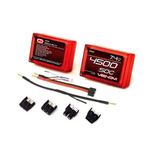 Venom 50C 2S 4500mAh 7.4V Saddle Pack LiPo Battery ROAR Approved with Universal Plug (EC3/Deans/Traxxas/Tamiya) 4500mah Li Ion Battery