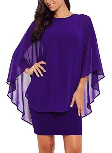 (Alinemyer Womens Chiffon Round Neck Cocktail Party Overlay Midi Dress Purple XXL)