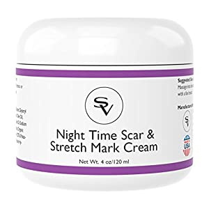 Night Time Stretch Mark & Scar Cream | Powerful Stretch Mark Remover Cream and Acne Scar Remover Cream | Infused w/ Vitamin C and Hyaluronic Acid For Quick Results | Made in USA