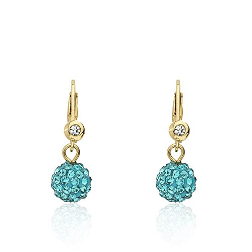 Molly Glitz Glitz Blitz 14k Gold-Plated Aqua Crystal Ball Leverback Earring