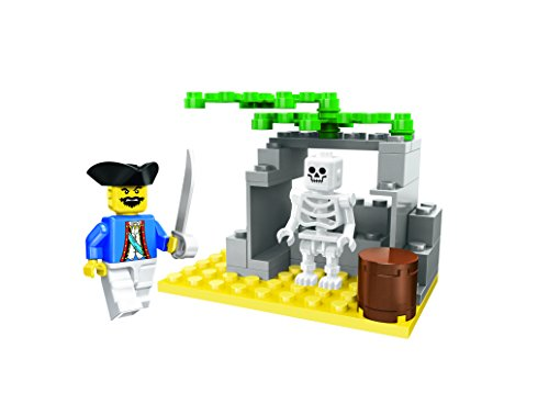 Pirates Caribbean Skeleton - Little Builder Pirate Island Skeleton Building Bricks Toy Set, 42 Pieces Playset
