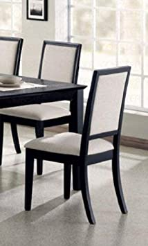 Louise Upholstered Dining Side Chairs Black and Cream Set of 2