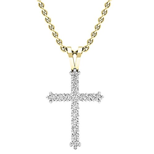 Dazzlingrock Collection 0.25 Carat (ctw) 10K Round Diamond Ladies Cross Pendant 1/4 CT (Gold Chain Included), Yellow Gold