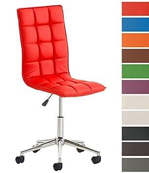 CLP Taburete de Trabajo Peking en Cuero Sintético I Silla de Trabajo con Ruedas I Taburete Bajo Regulable en Altura I Color: Rojo: Amazon.es: Hogar