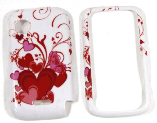 White with Red FLowing Heart Snap on Cell Phone Case for Huawei M735 Metro PCS + Microfiber Bag