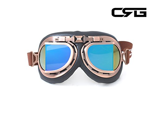 CRG Sports Vintage Aviator Pilot Style Motorcycle Cruiser Scooter Goggle T08 T08BCB - Parent (Copper Frame Multi-Color Lens)