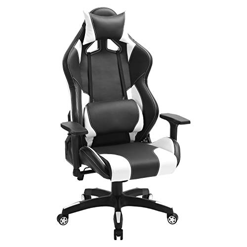 Gaming Swivel Leather Office Arm Chair- Ergonomic Computer Racing Chair (White)
