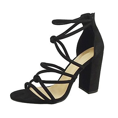 pwne Sandalias De Mujer Zapatos Club Verano Pu Parte &Amp; Traje De Noche Casual Chunky Talón Zipper Hebilla Azul Rojo Naranja Negro US10.5 / EU42 / UK8.5 / CN43