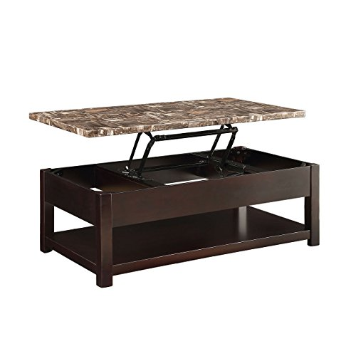 Major-Q 9082127 Espresso Finish Coffee Table with Faux Marble Lift - Tables Antique Marble
