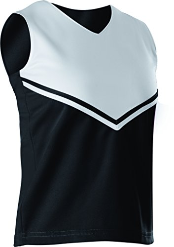 Alleson Women's Cheerleading V Shell Top with Braid, Black/White, Small