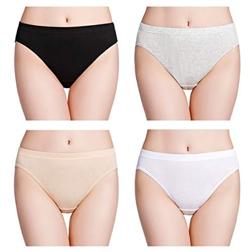 wirarpa Womens Soft 100 Cotton Underwear Panties Ladies High Cut Briefs 4 Pack