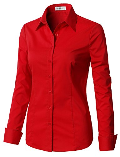 b1c6665985524c CLOVERY Women's Basic Long Sleeve Slim Fit Button Down Shirt ...