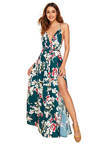SheIn Women's Sexy Satin Deep V Neck Backless Maxi Party Evening Dress XX-Large Green-Floral