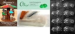 Cybrtrayd ''Frog'' Animal Chocolate Candy Mold with Chocolatier's Bundle, Includes 50 Cello Bags, 25 Silver and 25 Gold Twist Ties