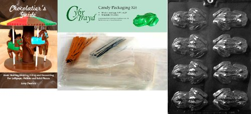 Cybrtrayd Frog Chocolate Candy Mold with Exclusive Cybrtrayd Copyrighted Chocolate Molding Instructions