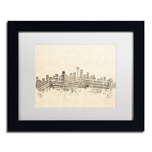 Seattle Skyline Sheet Music by Michael Tompsett in White Matte and Black Framed Artwork, 11 by 14