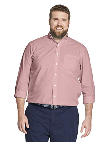 (IZOD Men's Big and Tall Button Down Long Sleeve Stretch Performance Solid Shirt, Rapture Rose 1, 4X-Large)