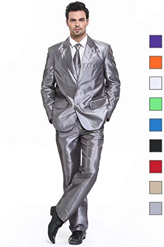 U LOOK UGLY TODAY Men's Party Suit Mens Grey Shining Solid Color Bachelor Party (Best Unique Mens Costumes)
